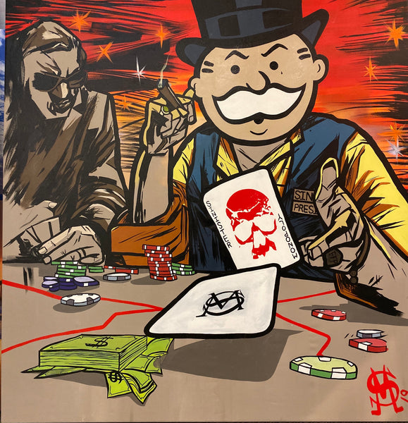 "Sinister Monopoly ""Wild Card"" Original Canvas"