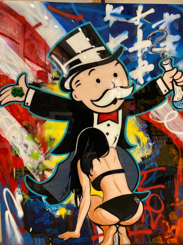 "Sinister Monopoly ""The American Dream"" Original on Wood"
