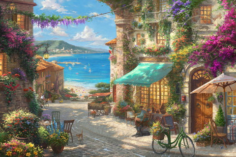 "Thomas Kinkade Studios ""Italian Café"" Limited Edition Canvas Giclee"