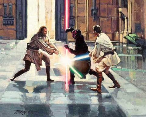 "Rodel Gonzalez Star Wars ""Lightsaber Duel on Naboo"" Limited Edition Canvas Giclee"