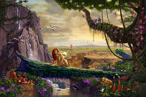 "Thomas Kinkade Studios ""Disney Lion King – Return to Pride Rock"" Limited Edition Canvas Giclee"