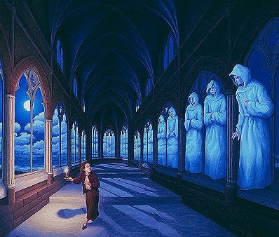 "Rob Gonsalves Rob Gonsalves ""Medival Moonlight"" Giclée on Paper  5"" x 6"" Limited 395 paper Giclee"