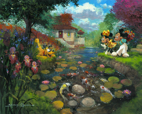 "James Coleman Disney ""Mickey's Koi Pond"" Limited Edition Canvas Giclee"