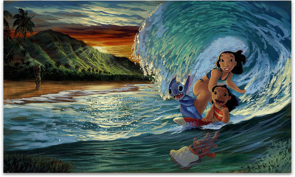 "Walfrido Garcia Disney ""Morning Surf"" Limited Edition Canvas Giclee"
