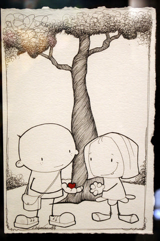 "Fabio Napoleoni- ""What to share this with You"" - Size 11 by 7.5 "" Original pen and Ink - Art Center Gallery"