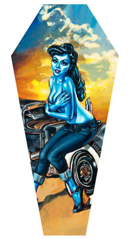"Lowbrow ""Notorious"" Coffin Shaped Canvas"