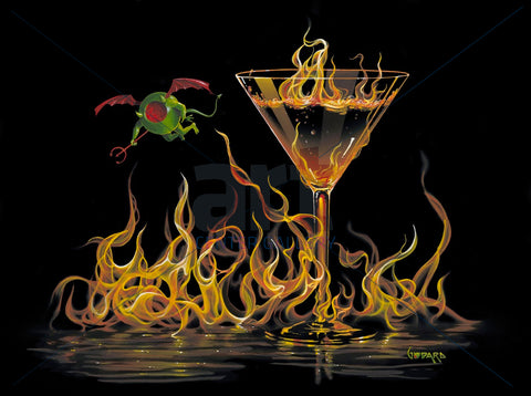 "Michael Godard ""Hell of A Martini"" Limited Edition Canvas Giclee"