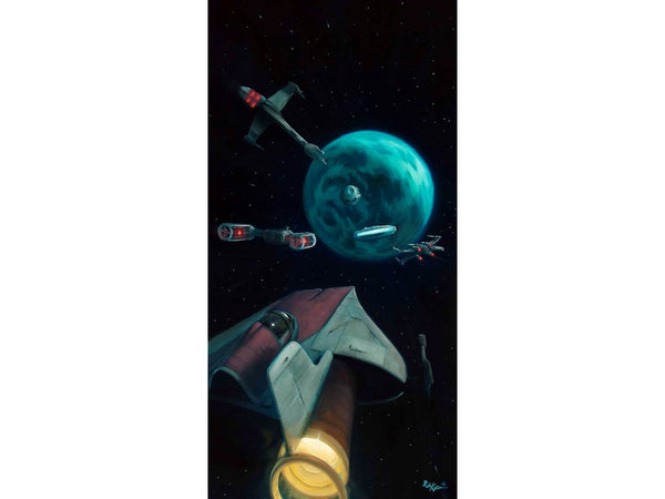 "Star Wars-The Endor Approach"" Giclee Canvas  36"" by 18""  Limited-195 PRICING 1-866-254-6523 - Art Center Gallery"