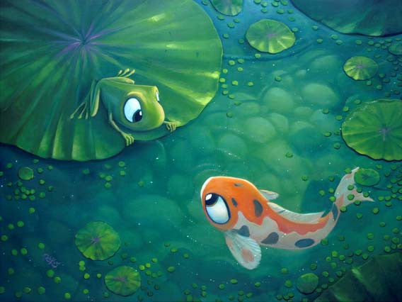 "Rob Kaz- ""Playing Koi"" Giclee Canvas 30"" by 48"" Limited Edition Size 195  CALL FOR  PRICING 1-866-254-6523 - Art Center Gallery"