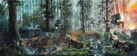 "Rodel Gonzalez Star Wars ""Battle of the Forest Moon"" Limited Edition Canvas Giclee"