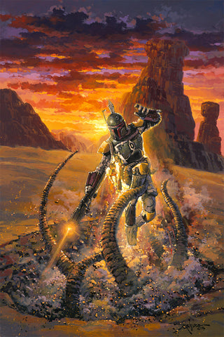 "Rodel Gonzalez Star Wars ""Escaping the Pit"" Limited Edition Canvas Giclee"