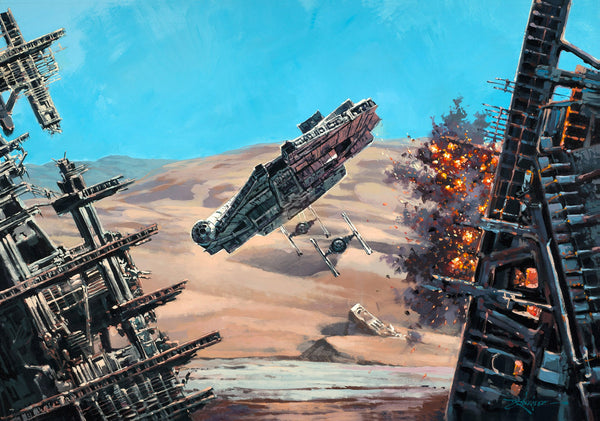 "Rodel Gonzalez Star Wars ""Fly Low"" Limited Edition Canvas Giclee"