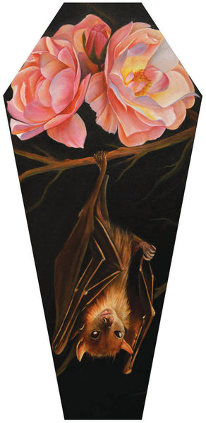"Noel Terracina ""Rose and Bat"" Coffin Shaped Canvas"