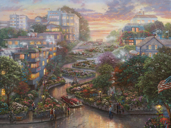 "Thomas Kinkade Studios ""San Francisco Lombard Street II"" Limited Edition Canvas Giclee"