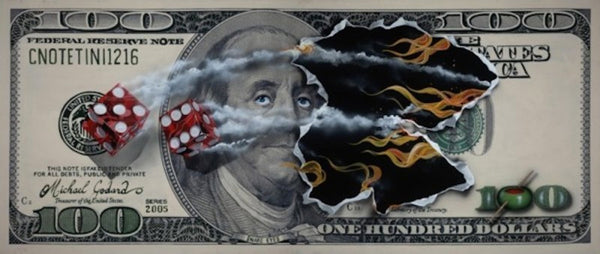 "Michael Godard ""$100 Bill Snake Eyes"" Limited Edition Canvas Giclee"