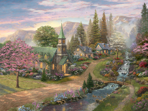 "Thomas Kinkade Studios ""Sunday Morning Chapel"" Limited Edition Canvas Giclee"