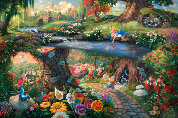 "Thomas Kinkade Studios Disney ""Alice in Wonderland"" Limited and Open Canvas Giclee"