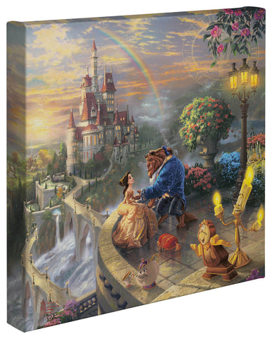 "Thomas Kinkade Disney Dreams ""Beauty and the Beast Falling in Love"" Canvas Giclee"