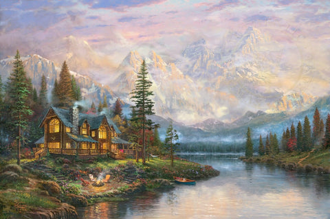 "Thomas Kinkade ""Cathedral Mountain Lodge"" Limited Edition Canvas Giclee"
