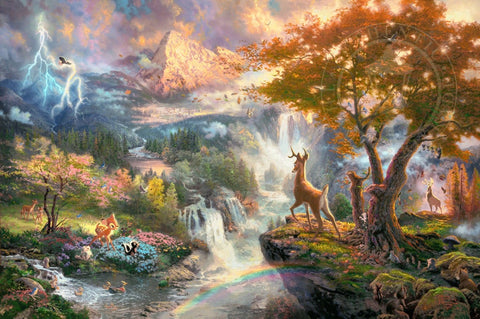 "Thomas Kinkade Studios Disney ""Bambi's First Year"" Limited Edition Paper Giclee"