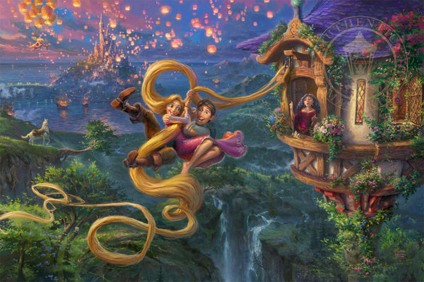 "Thomas Kinkade Disney Dreams ""Tangled Up In Love"" Limited Edition Canvas Giclee"