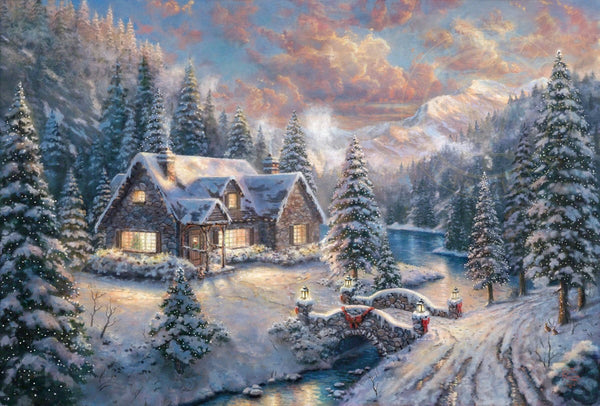"Thomas Kinkade Studios ""High Country Christmas"" Limited Edition Canvas Giclee"