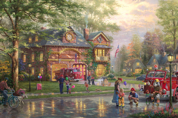 "Thomas Kinkade Studios ""Hometown Firehouse"" Limited Edition Canvas Giclee"
