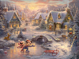 "Thomas Kinkade Studios ""Mickey and Minnie Sweetheart Holiday"" Limited and Open Canvas Giclee"