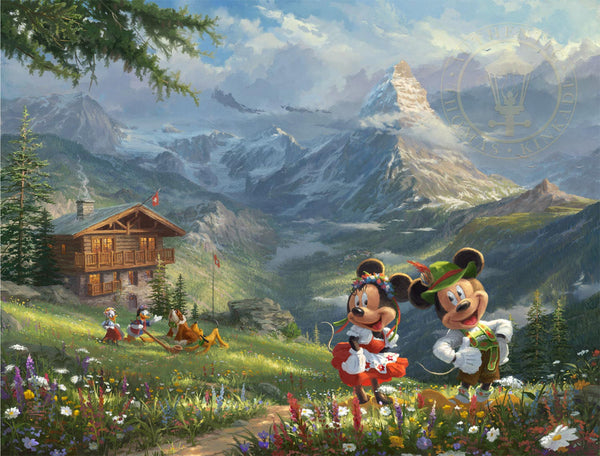 "Thomas Kinkade Studios ""Mickey and Minnie in the Alps"" Limited and Open Canvas Giclee"