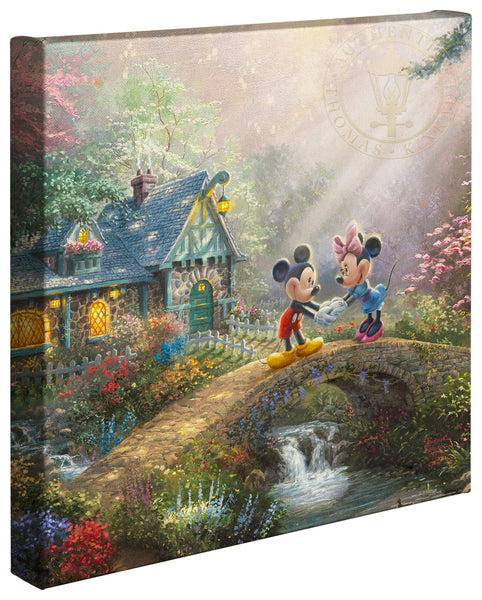 "Thomas Kinkade Studios ""Mickey and Minnie Sweetheart Bridge"" Open Edition Canvas Giclee"