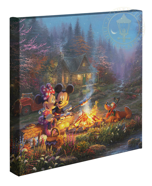 "Thomas Kinkade Studios ""Mickey and Minnie Sweetheart Campfire"" Limited and Open Canvas Giclee"