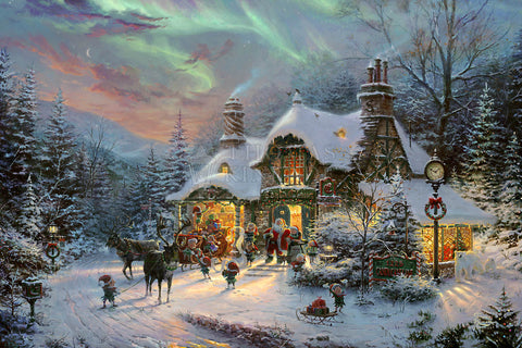 "Thomas Kinkade Studios ""Santa's Night Before Christmas"" Limited and Open Canvas Giclee"