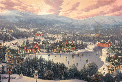 "Thomas Kinkade Studios ""Sunset on Snowflake Lake"" Limited and Open Canvas Giclee"