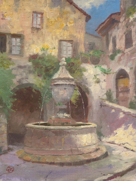 "Thomas Kinkade ""Tuscan Village Fountain"" Limited Edition Canvas Giclee"