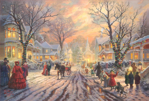"Thomas Kinkade Studios ""Victorian Christmas Carol"" Limited Edition Canvas Giclee"