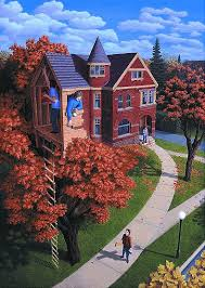 "Rob Gonsalves Rob Gonsalves ""Tree house in Autumn"" Giclée on Paper   5.25 x 7.50"" Limited 395 Paper Giclee"
