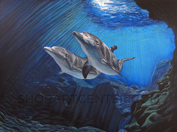 "Chris Meredith ""Two Dolphins"" Limited Edition Canvas Giclee"