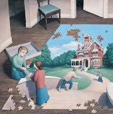 "Rob Gonsalves Rob Gonsalves ""Unfinished Puzzle"" Giclée on Paper   5 x 5"" Limited 395 Paper Giclee"
