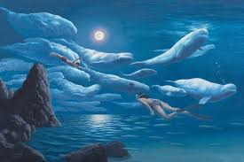 "Rob Gonsalves Rob Gonsalves ""Union of Sea and Sky"" Giclée on Paper   9.5 x 14.25"" Limited 300 Paper and Canvas Giclee"