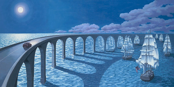"Rob Gonsalves Rob Gonsalves- ""Towards The Horizon""-Giclée on Canvas 13.5"" h x 27"" w Limited 395 Canvas Giclee"