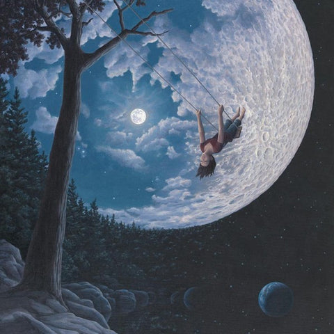 "Rob Gonsalves Rob Gonsalves- ""Over The Moon""-Giclée on Paper 14"" h x 11"" w  Limited 	300 SOLD OUT Paintings"