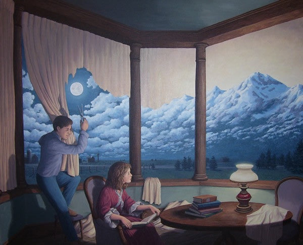 "Rob Gonsalves Rob Gonsalves "" Change of Scenery 2 ( Making Mountains) ""-Giclée on Paper 10"" h x 8"" w Limited 300 Paintings"