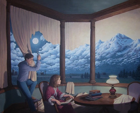 "Rob Gonsalves "" Change of Scenery 2 ( Making Mountains) ""-Giclée on Paper 10"" h x 8"" w Limited 300 - Art Center Gallery"