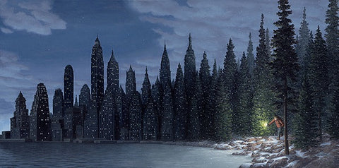 "Rob Gonsalves Rob Gonsalves- ""Light Flurries""-Giclée on Paper 	7.5"" h x 15"" w 	Limited 300 paper Giclee"