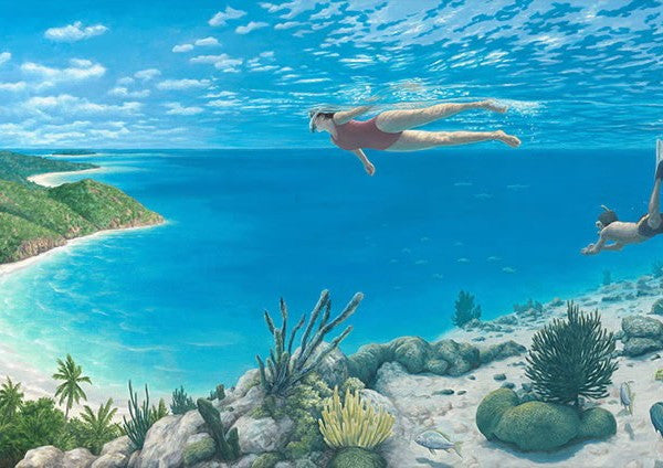 "Rob Gonsalves Rob Gonsalves- ""Beyond the Reef""-Giclée on Canvas 13"" h x 26"" w Limited 395 Paintings"