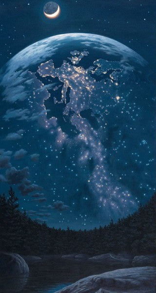 "Rob Gonsalves Rob Gonsalves- "" Night Lights ""-Giclée on Paper 	16"" h x 8"" w  Limited 295 Paper and Canvas Giclee"