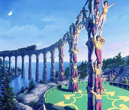 "Rob Gonsalves "" Acrobatic Engineering ""-Giclée on Paper 8.5"" h x 7"" w limited 395 -Art Center Gallery www.shopartcenter.com  1-866-254-6523"