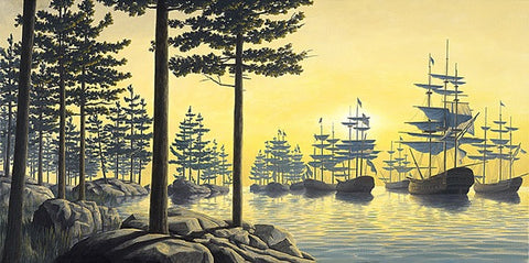 "Rob Gonsalves Rob Gonsalves- ""Sailing Island""-Giclée on Paper 	7.5"" h x 15"" w 	Limited 300 Paintings"