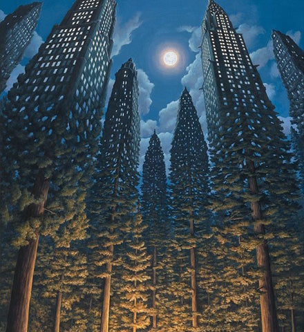 "Rob Gonsalves Rob Gonsalves- ""Arboreal Office ""-Giclée on Paper 15"" h x 10"" w Limited 300 Paintings"
