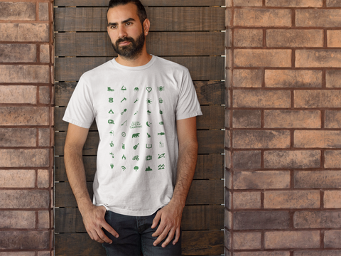 iconspeak camping t-shirt with 39 icons